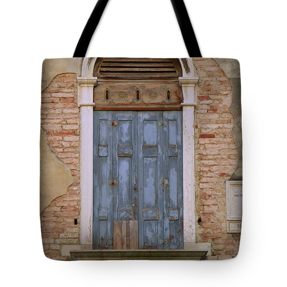 Venice Tote Bag featuring the painting Venice Blue Arched Window by Robyn Saunders