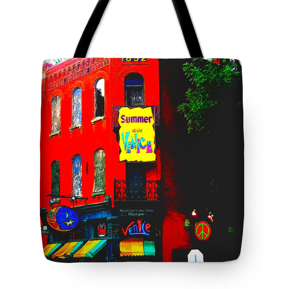 Tote Bag featuring the photograph Venice Cafe' Painted And Edited by Kelly Awad