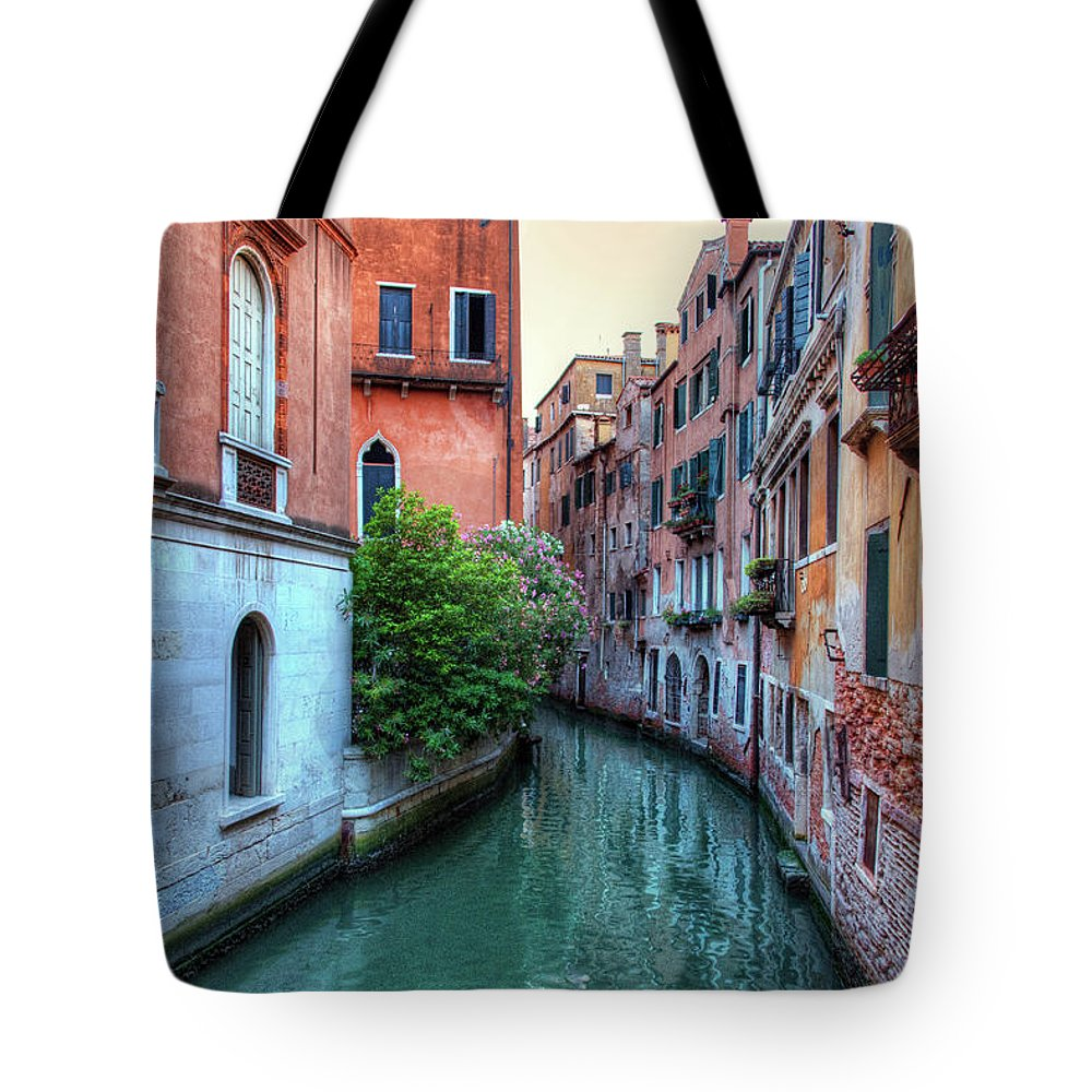 Tranquility Tote Bag featuring the photograph Venice Canals by Emad Aljumah