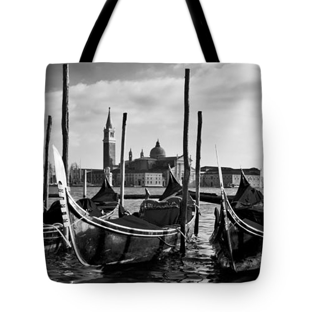 Italia Tote Bag featuring the photograph Venice Gondolas by Sonny Marcyan