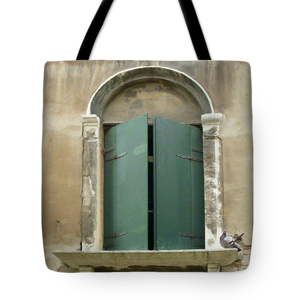 Venice Tote Bag featuring the painting Venice Green Shutters With Birds by Robyn Saunders