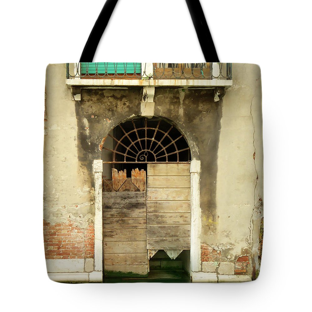 Venice Tote Bag featuring the painting Venice Italy Boat Room Shutters by Robyn Saunders