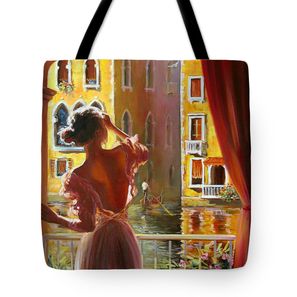 Venice Tote Bag featuring the painting Venice Morning. by Roman Fedosenko