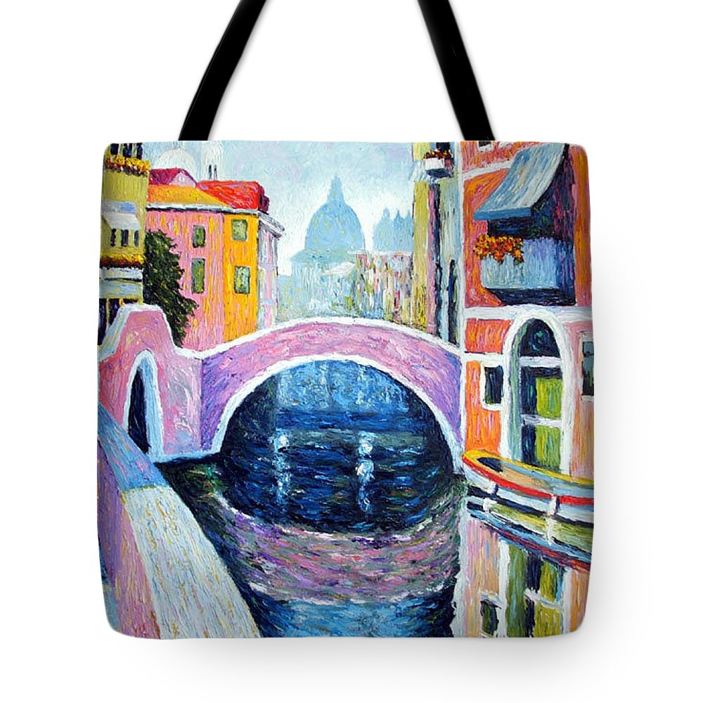 Pastel Tote Bag featuring the painting Venice Reflections by Michel Campeau