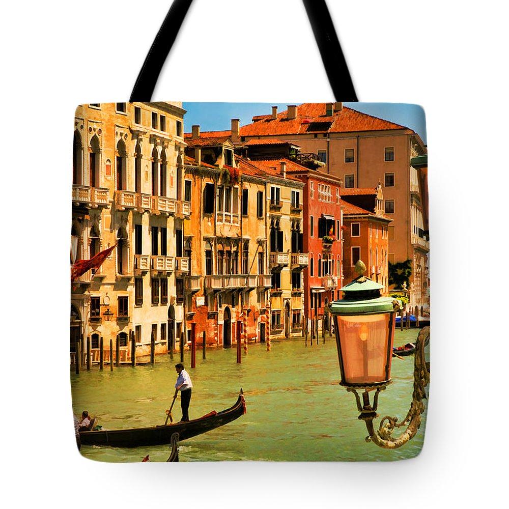 Venice Tote Bag featuring the digital art Venice Street Lamp by Mick Burkey