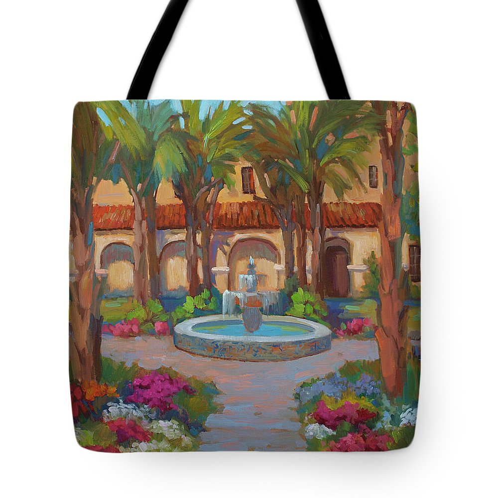Ventura Mission Tote Bag featuring the painting Ventura Mission by Diane McClary