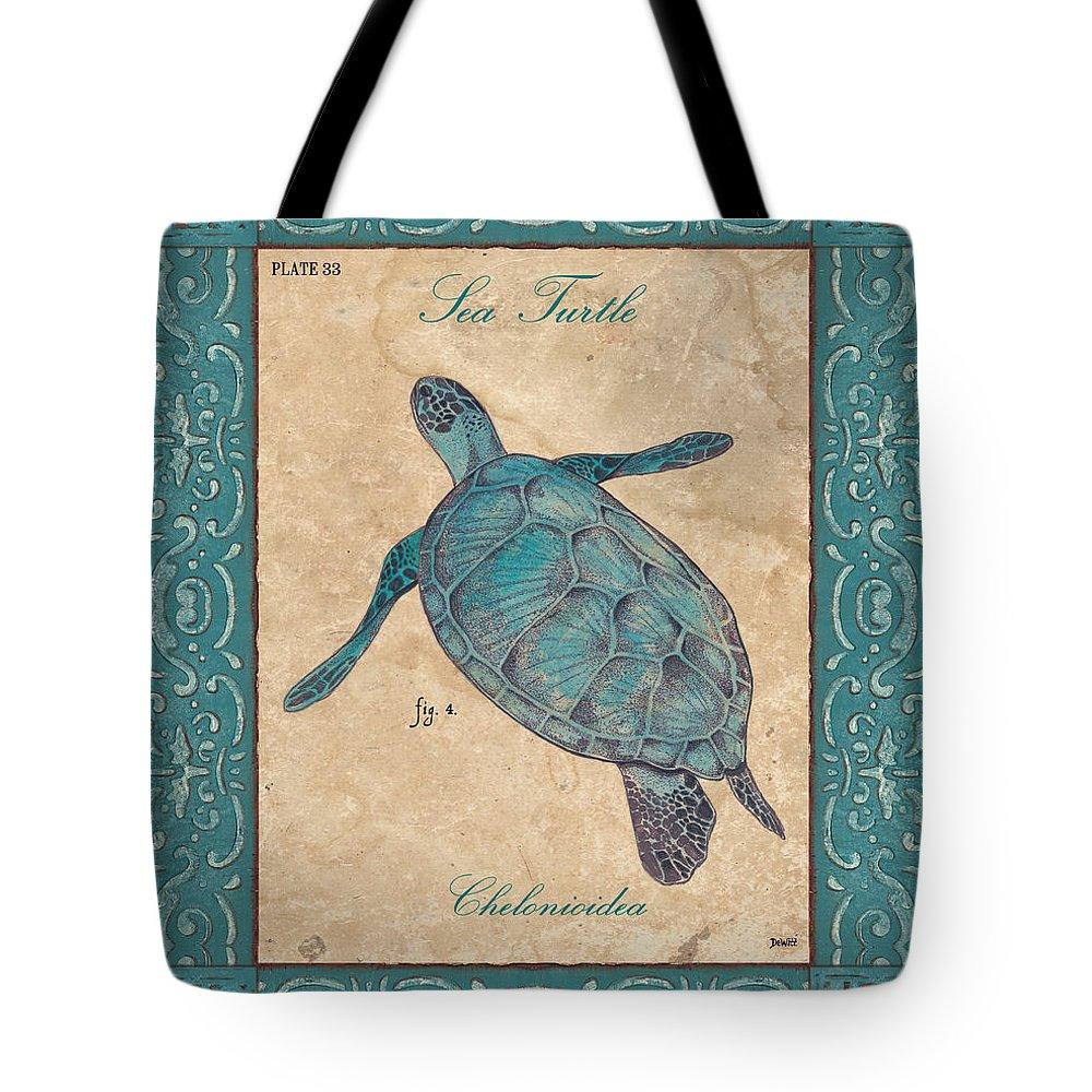 Coastal Tote Bag featuring the painting Verde Mare 4 by Debbie DeWitt