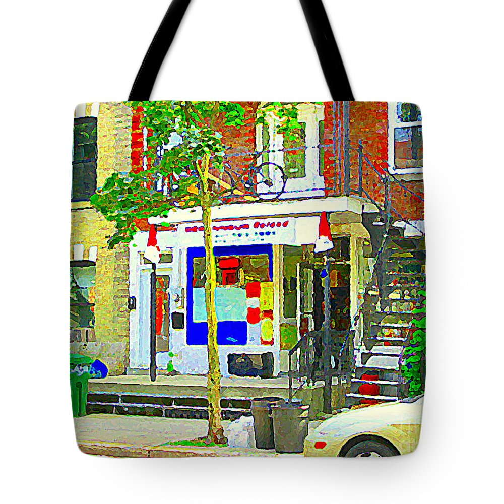 Montreal Tote Bag featuring the painting Verdun City Life Bike On Balcony Above Favorite Depanneur Montreal Stairs Summer Scenes Cspandau by Carole Spandau