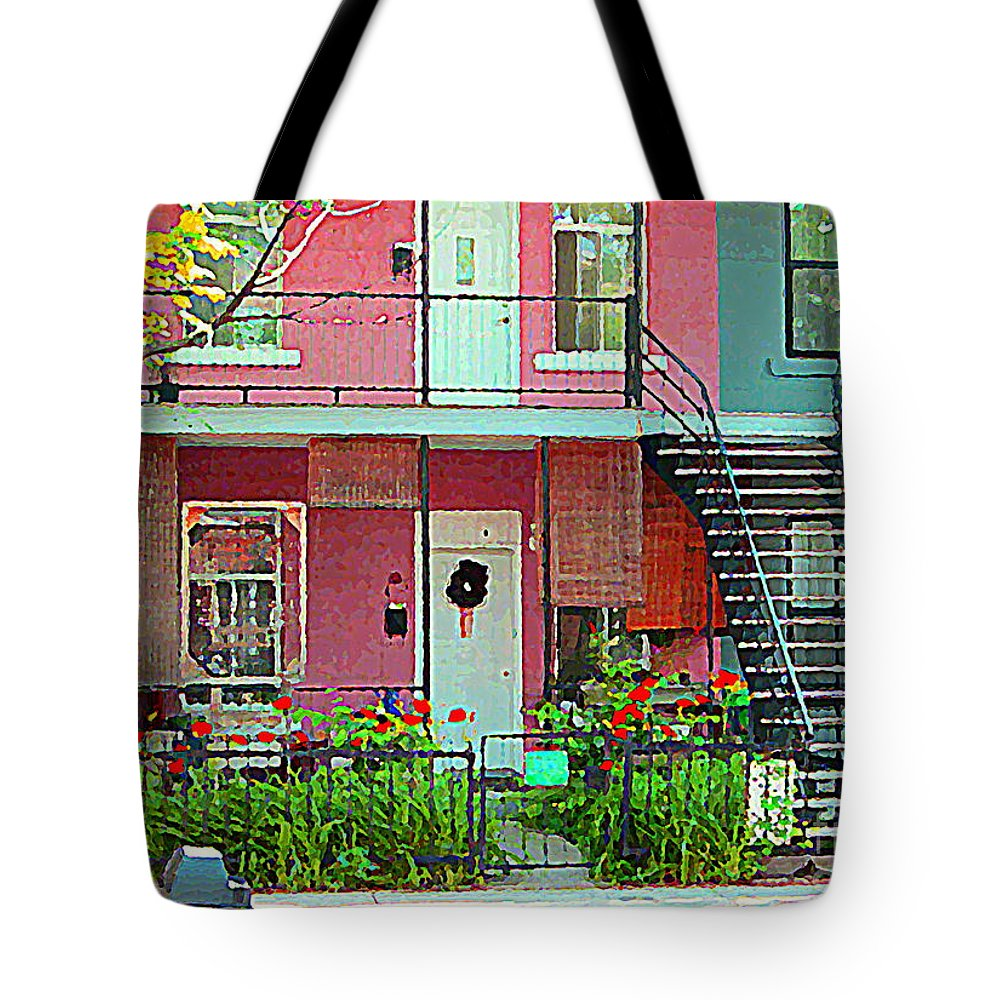 Montreal Tote Bag featuring the painting Verdun Flower Boxes Pink House Fenced Front Garden Red Flowers Staircase Scenes Carole Spandau by Carole Spandau