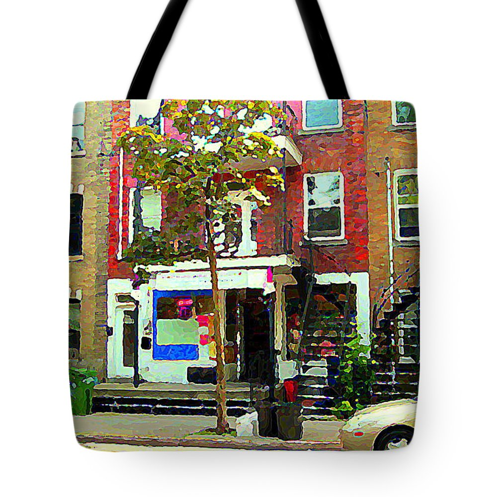 Montreal Tote Bag featuring the painting Verdun Variety Store Summer Street Scene Montreal Depanneur Double Staircases Carole Spandau by Carole Spandau