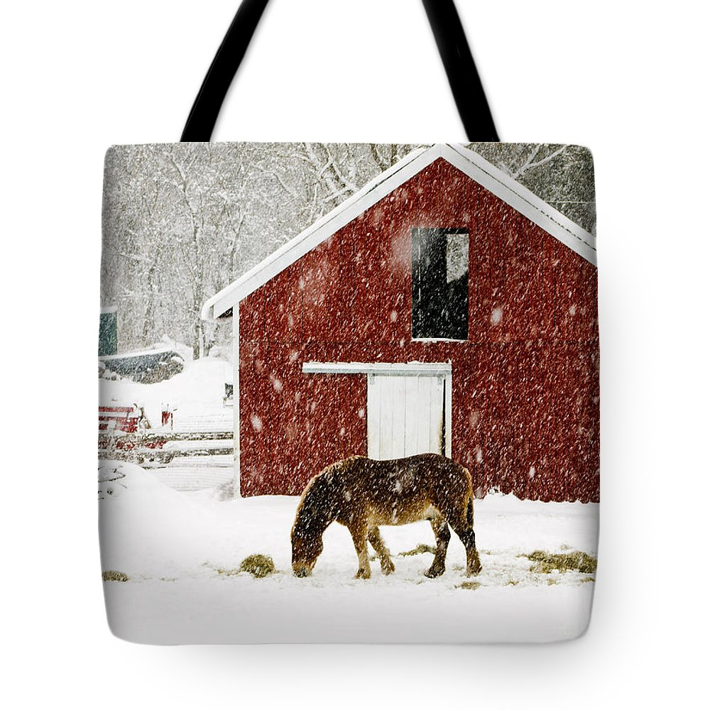 Horse Tote Bag featuring the photograph Vermont Christmas Eve Snowstorm by Edward Fielding