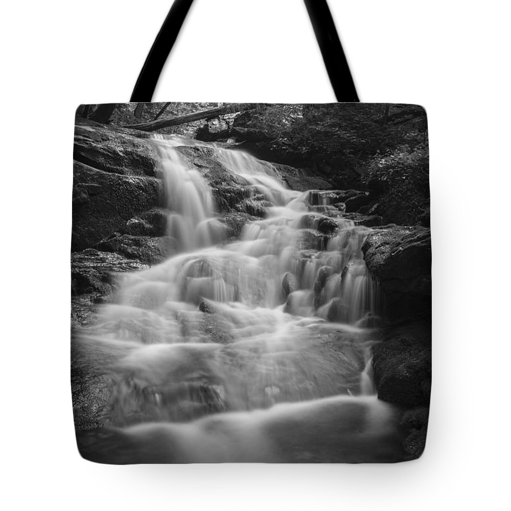 Vermont Tote Bag featuring the photograph Vermont Forest Waterfall Black And White by Andy Gimino