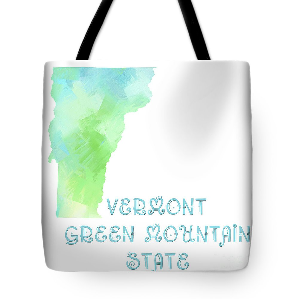 Andee Design Tote Bag featuring the digital art Vermont - Green Mountain State - Map - State Phrase - Geology by Andee Design