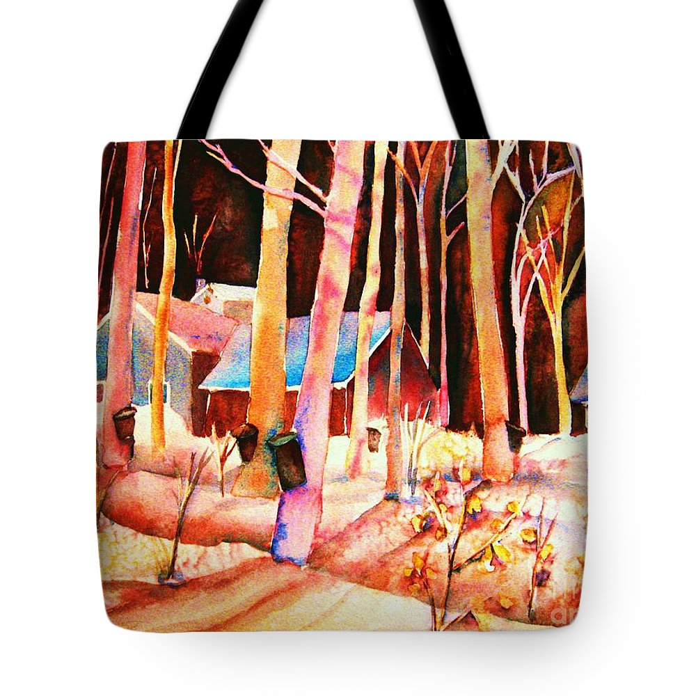 Montreal Tote Bag featuring the painting Vermont Maple Syrup by Carole Spandau
