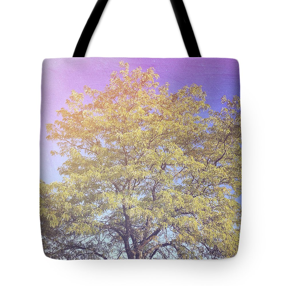 Vermont Tote Bag featuring the photograph Vermont Tree Light Leak Sunflare by Andy Gimino