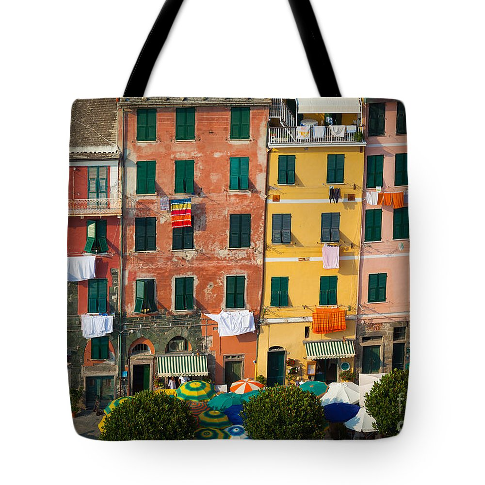 Cinque Terre Tote Bag featuring the photograph Vernazza Facades by Inge Johnsson