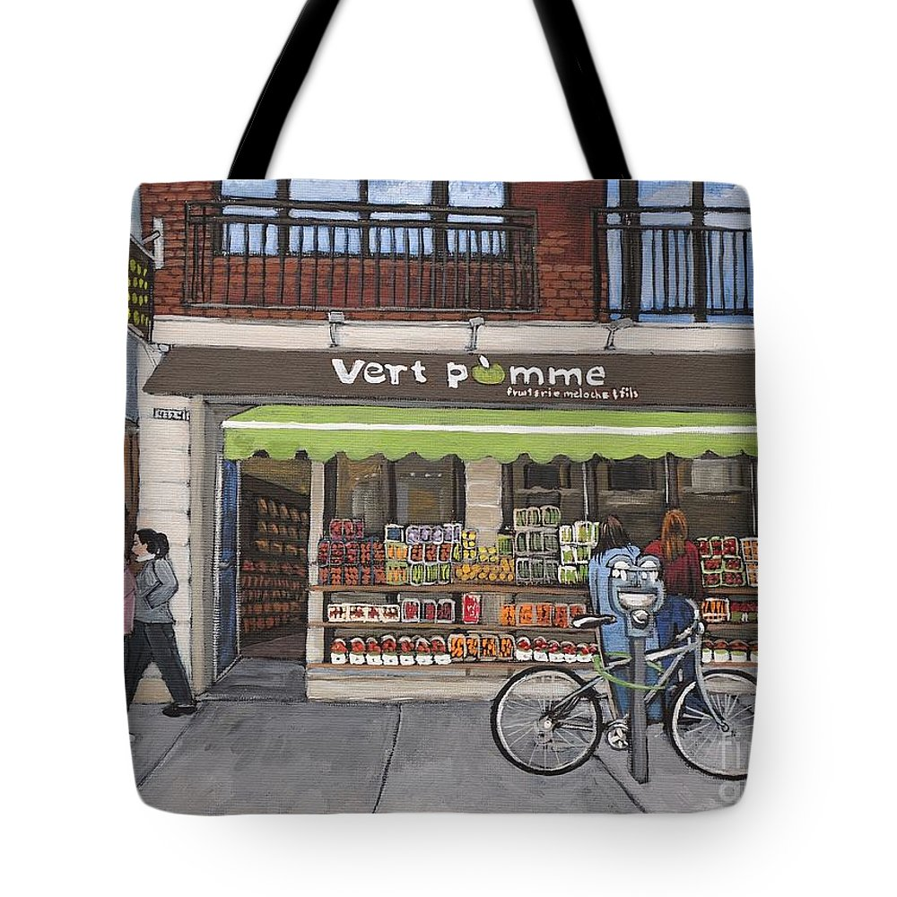 Verdun Tote Bag featuring the painting Vert Pomme Fruiterie Meloche Et Fille by Reb Frost