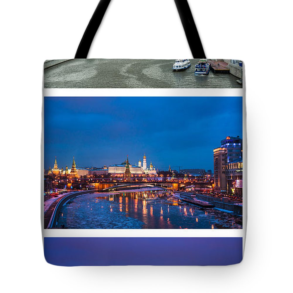 Amazing Tote Bag featuring the photograph Vertical Collage - Kremlin View - Featured 3 by Alexander Senin
