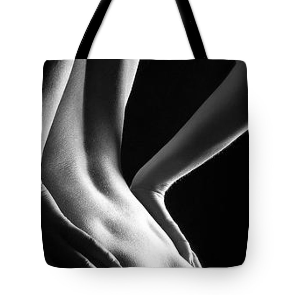 Woman Tote Bag featuring the photograph Vertical Nude 4 by Jochen Schoenfeld
