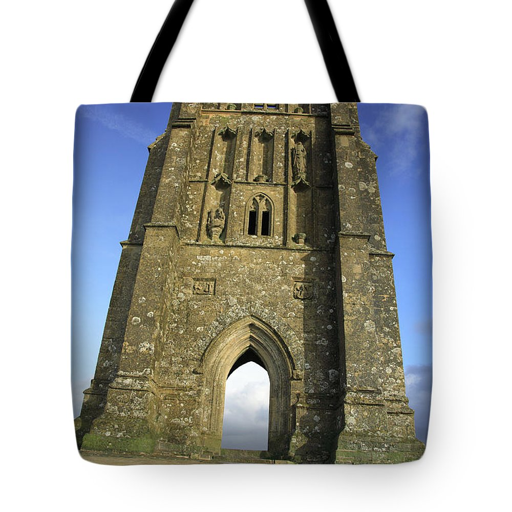 Abandoned Tote Bag featuring the photograph Vertical View Of Glastonbury Tor by Deborah Benbrook