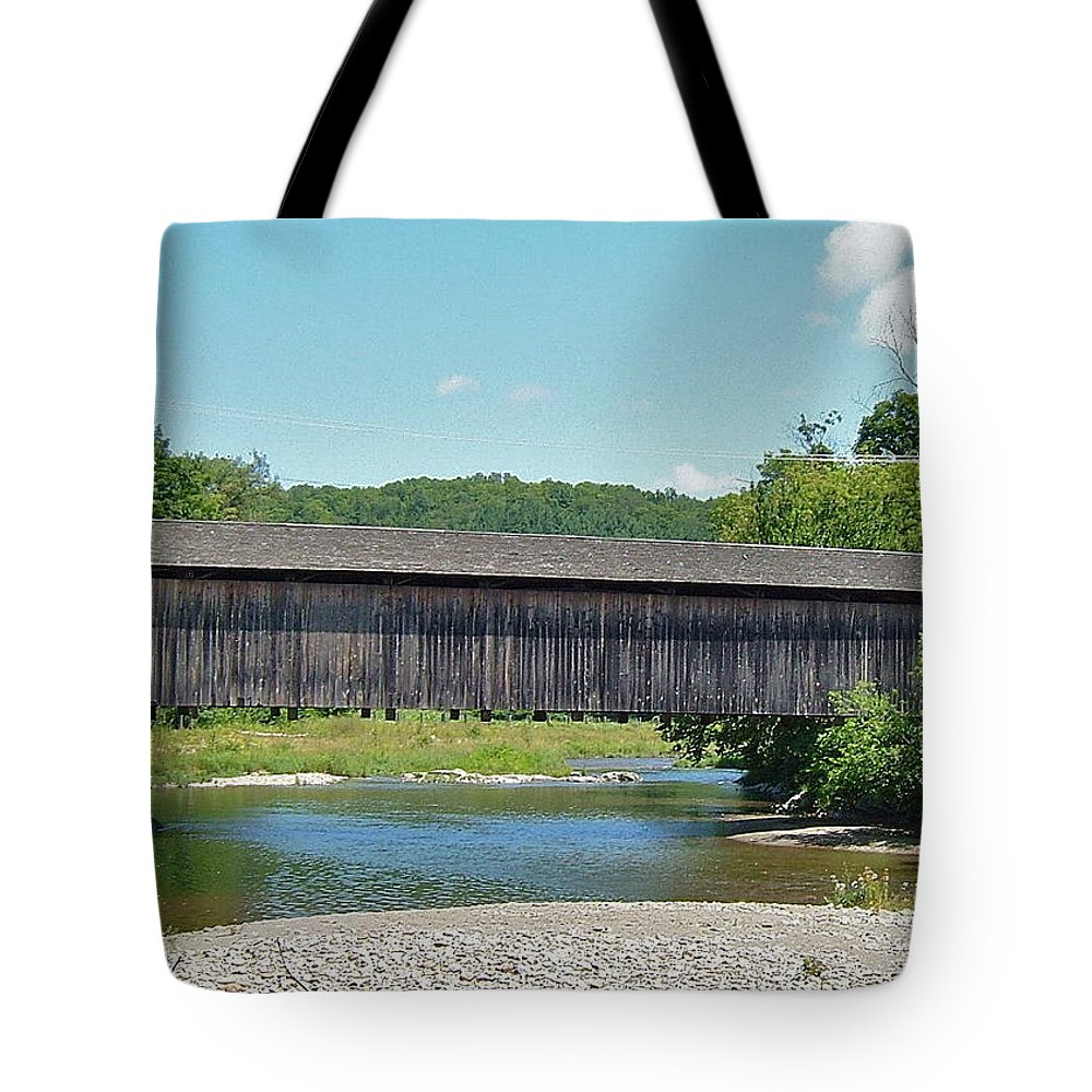 Very Long Tote Bag featuring the photograph Very Long Covered Bridge by Susan Wyman