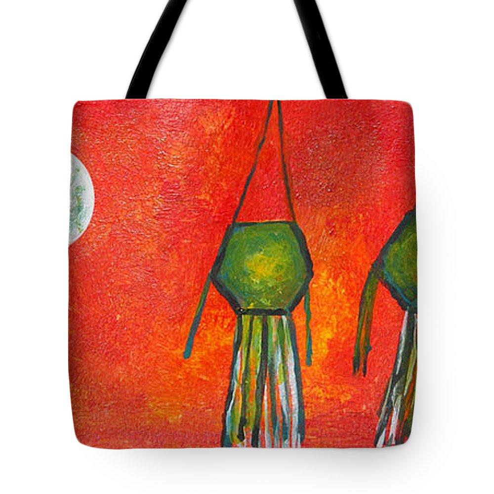 Vesak Tote Bag featuring the painting Vesak Lanterns by Nirdesha Munasinghe