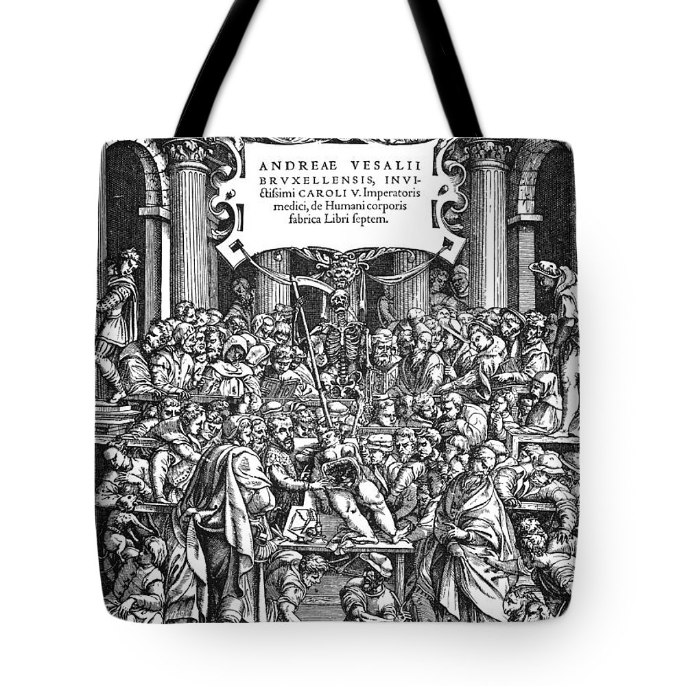1555 Tote Bag featuring the photograph Vesalius Teaching Anatomy by Granger