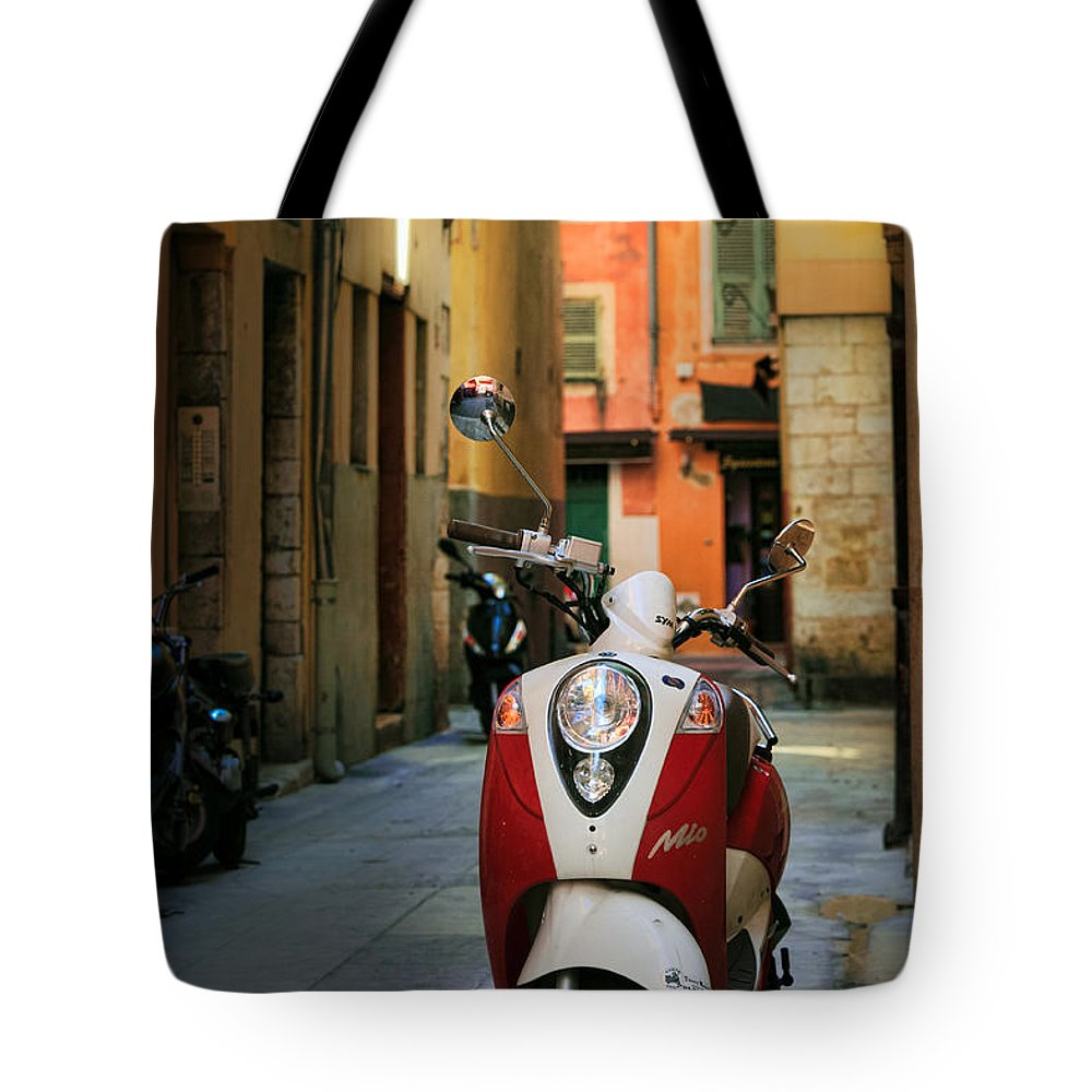 Cote Azur Tote Bag featuring the photograph Nicoise Scooter by Inge Johnsson