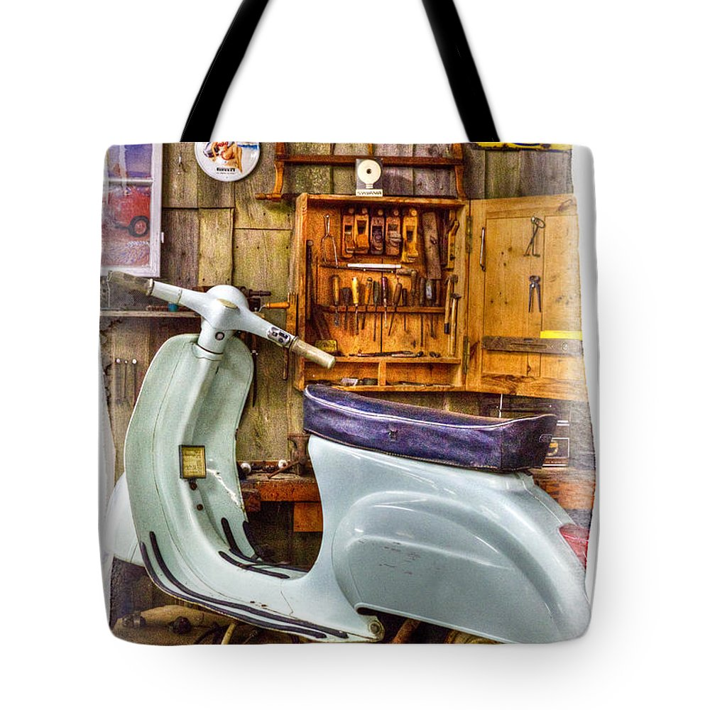 Vespa_scooter Tote Bag featuring the photograph Vespa Scooter by Heiko Koehrer-Wagner