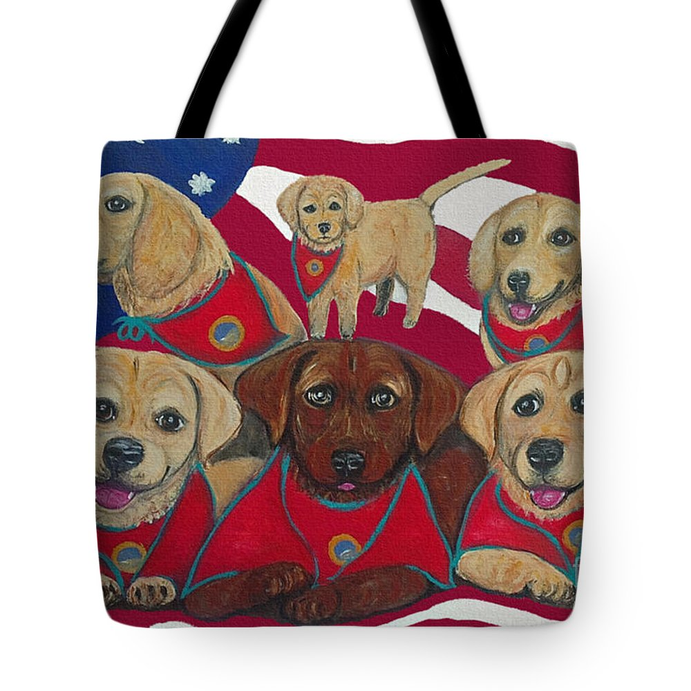 Dogs Tote Bag featuring the painting Vets Moving Forward Pups by Ania M Milo