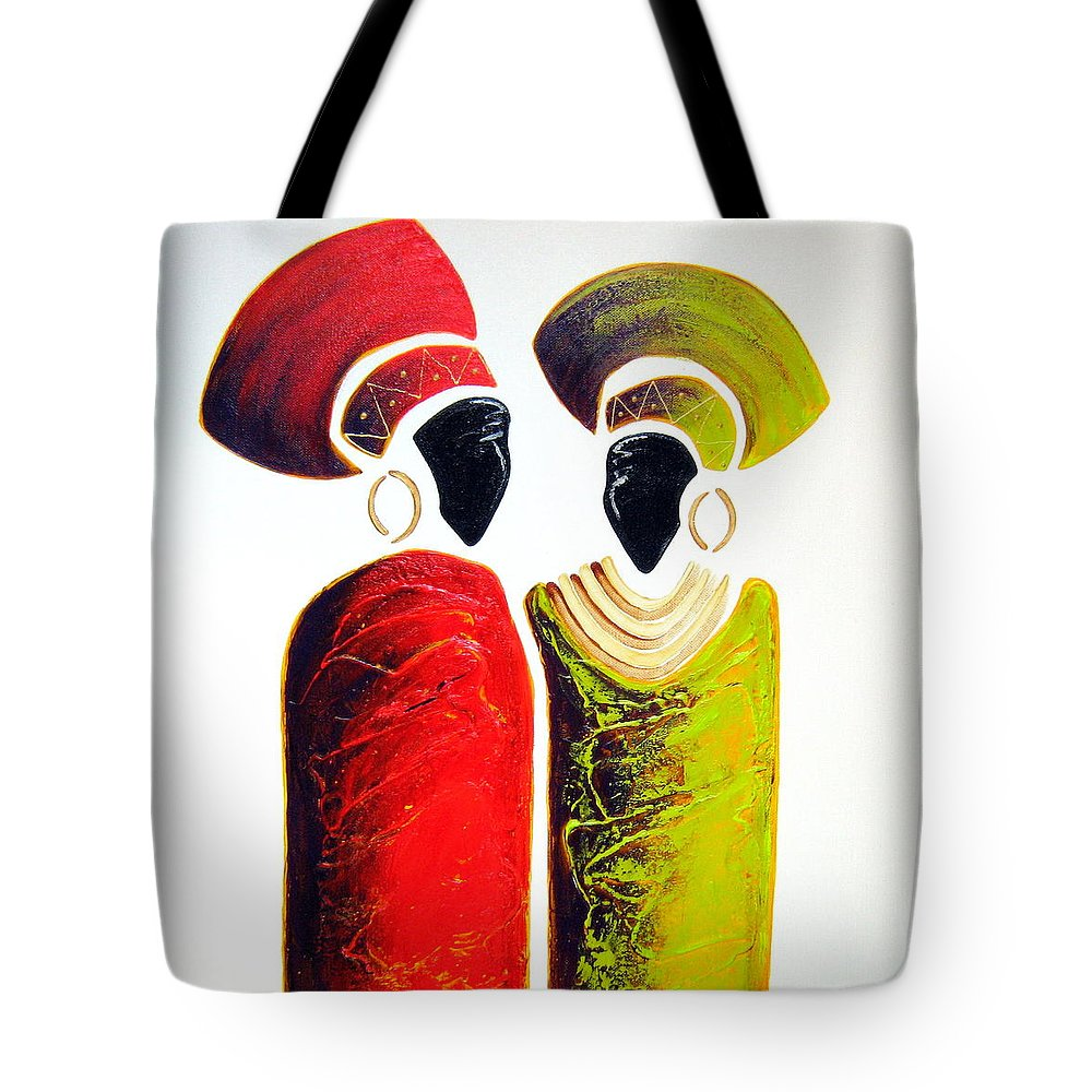Abstract Tote Bag featuring the painting Vibrant Zulu Ladies - Original Artwork by Tracey Armstrong