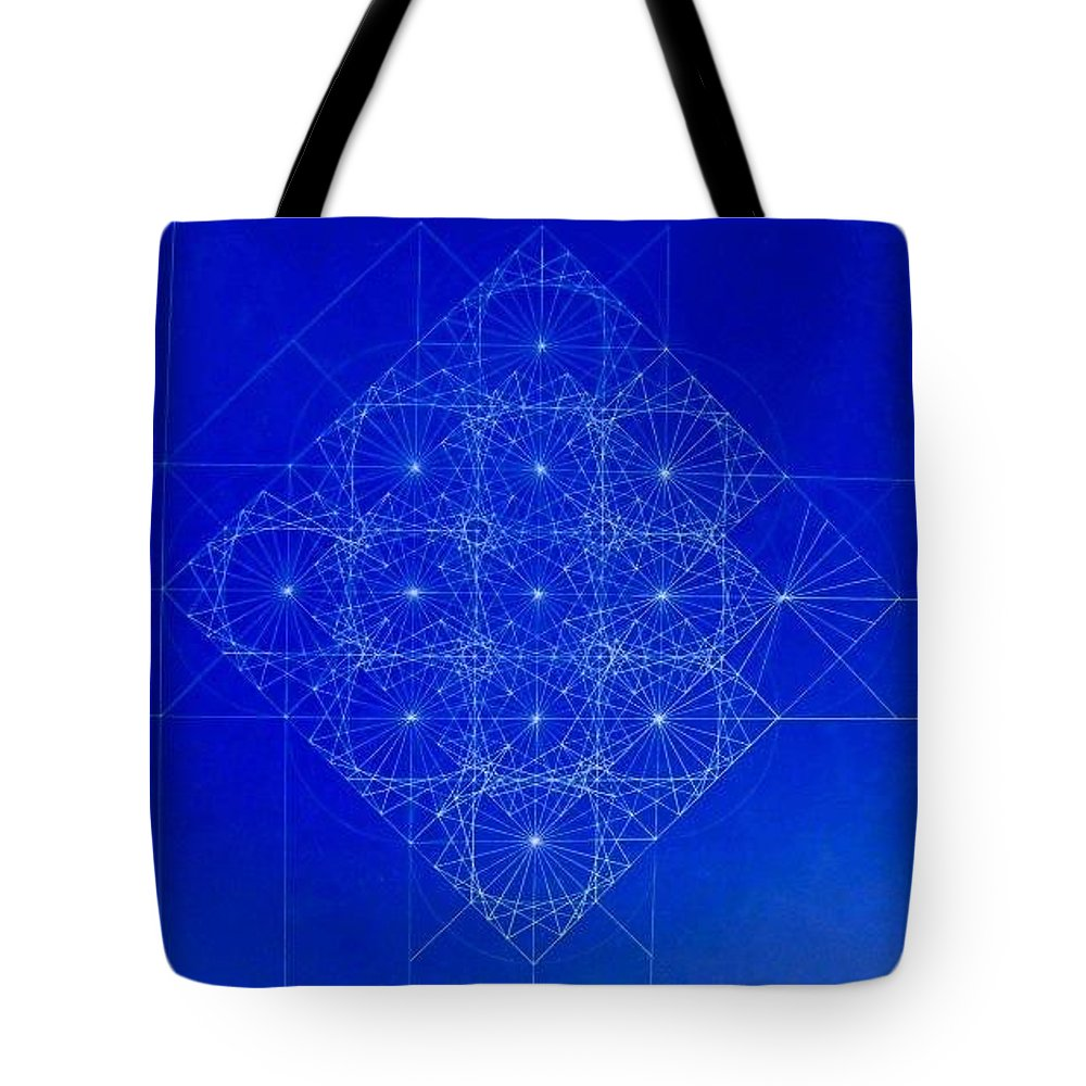 Sine Tote Bag featuring the drawing Vibrating Space Time by Jason Padgett