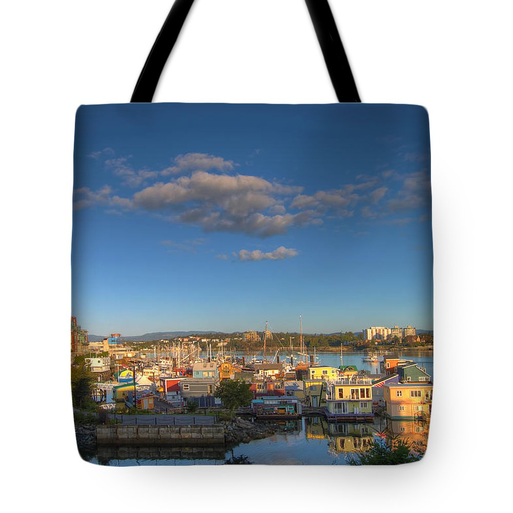 Victoria Tote Bag featuring the photograph Victoria Bc Fisherman's Wharf by Jit Lim