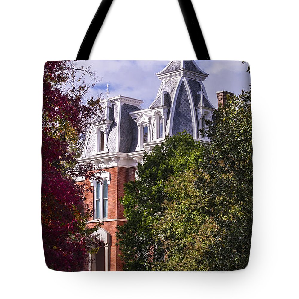 Autumn Trees Tote Bag featuring the photograph Victorian Home In Autumn Photograph As Gift For The Holidays Print by Jerry Cowart