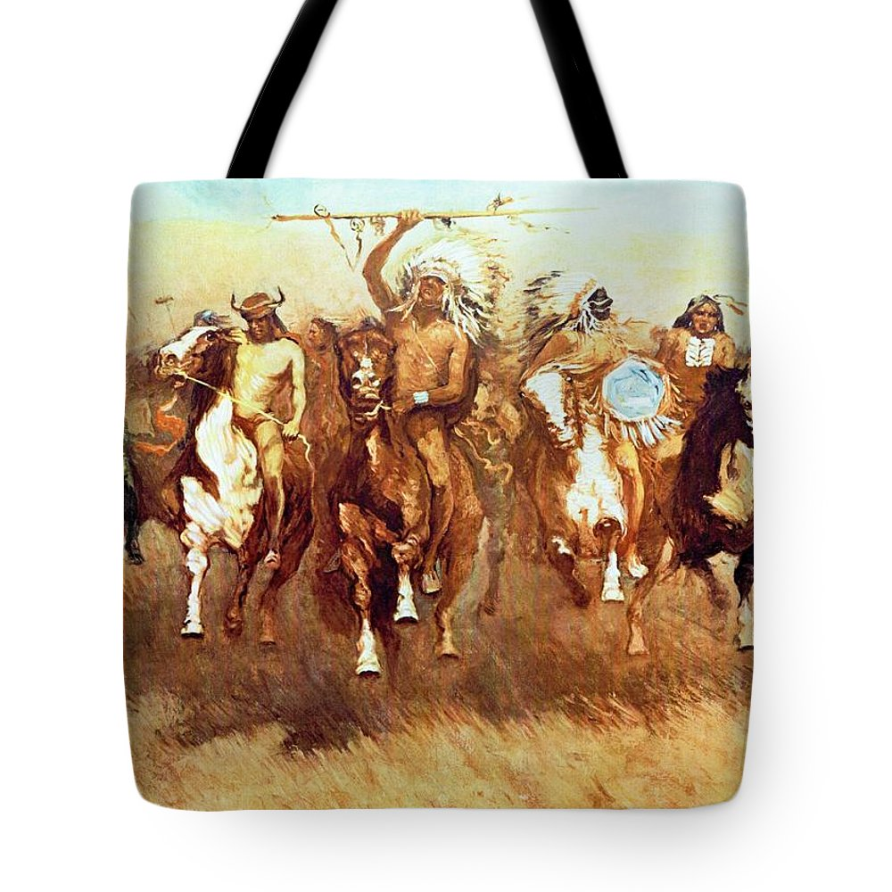 Victory Dance Tote Bag featuring the digital art Victory Dance by Frederic Remington