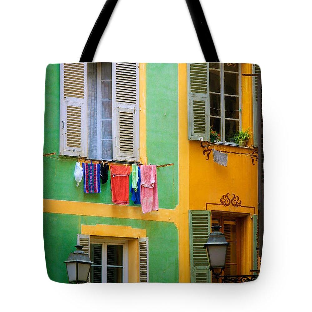 Cote D'azur Tote Bag featuring the photograph Vieille Ville Windows by Inge Johnsson