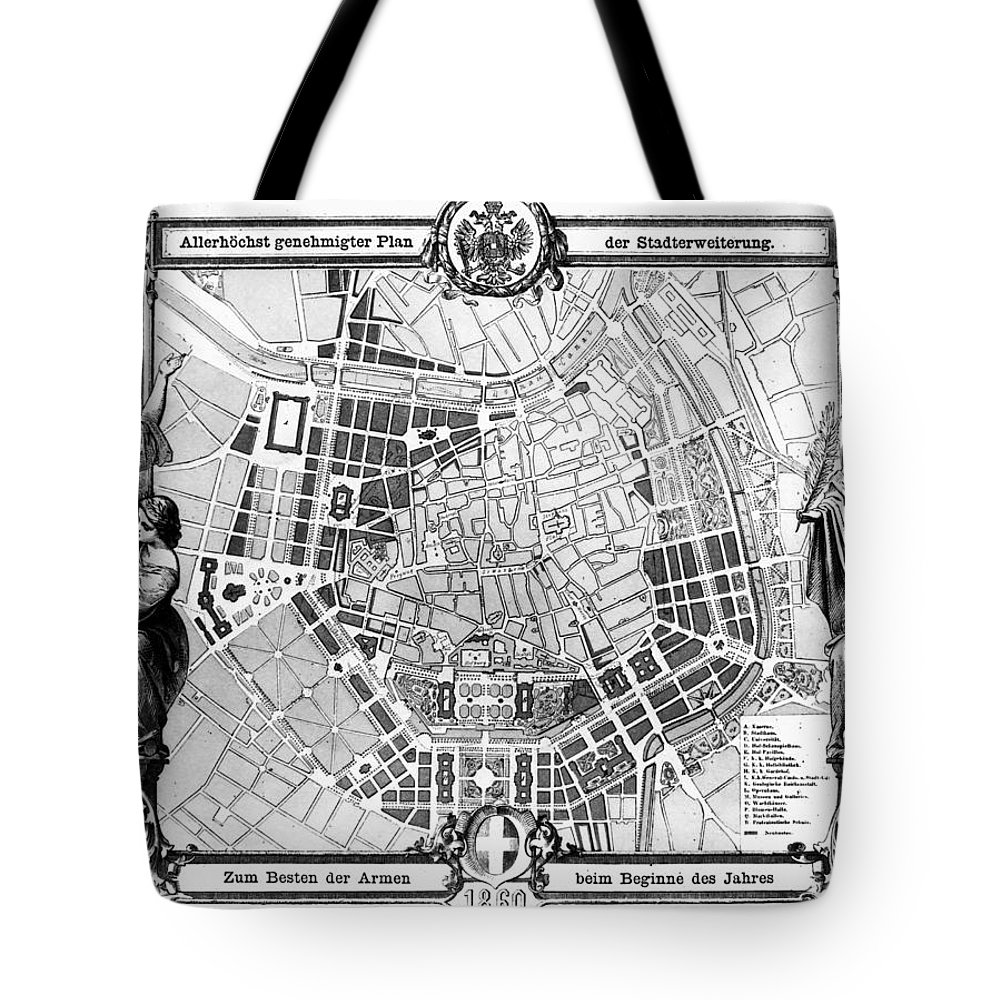 1860 Tote Bag featuring the photograph Vienna: Plan, 1860 by Granger