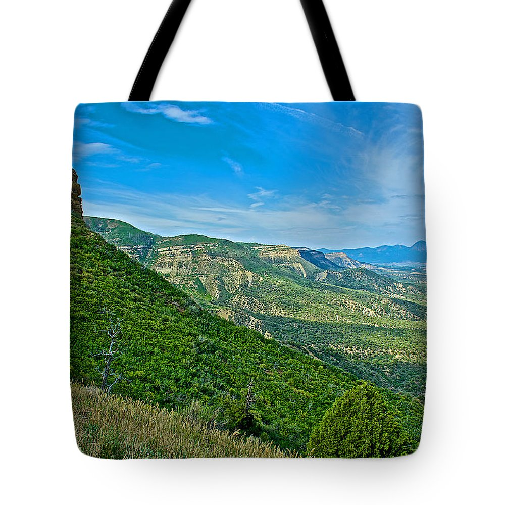 View From Knife Edge Road Overlooking Montezuma Valley In Mesa Verde National Park-colorado Mesa Verde National Park Tote Bag featuring the photograph View From Knife Edge Road Overlooking Montezuma Valley In Mesa Verde National Park-colorado  by Ruth Hager