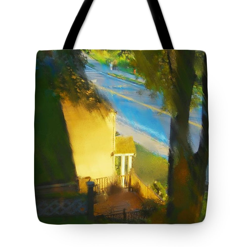 Fineartamerica.com Tote Bag featuring the painting View From My Window On A Summer Afternoon B-12 by Diane Strain
