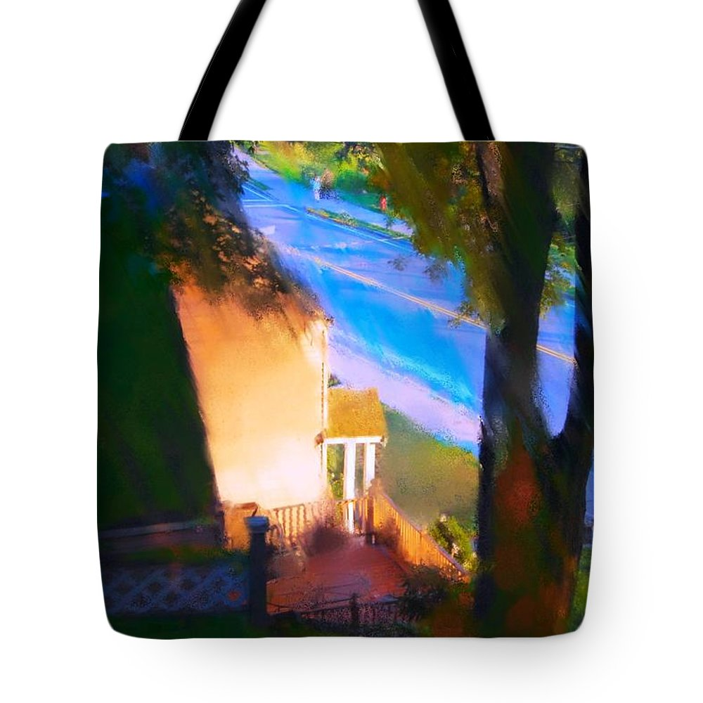 Fineartamerica.com Tote Bag featuring the painting View From My Window On A Summer Afternoon B-15 by Diane Strain