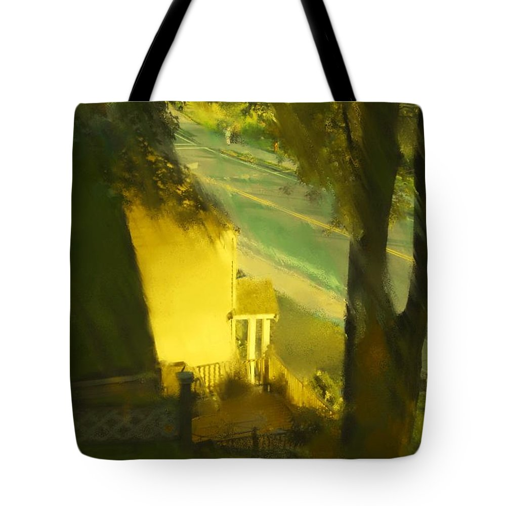 Fineartamerica.com Tote Bag featuring the painting View From My Window On A Summer Afternoon B-17 by Diane Strain