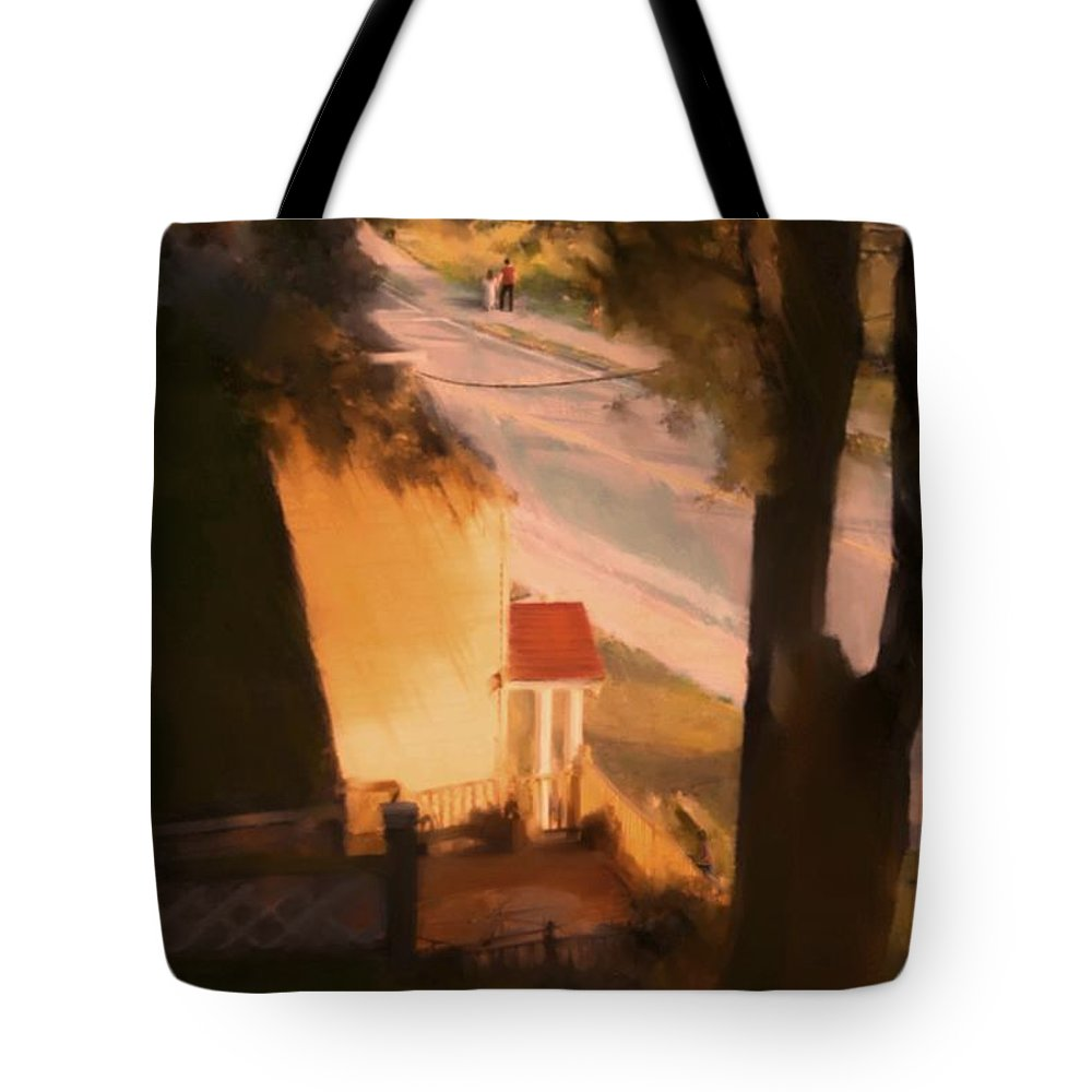 Fineartamerica.com Tote Bag featuring the painting View From My Window On A Summer Afternoon B-3 by Diane Strain