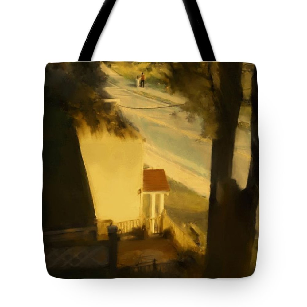Fineartamerica.com Tote Bag featuring the painting View From My Window On A Summer Afternoon B-4 by Diane Strain