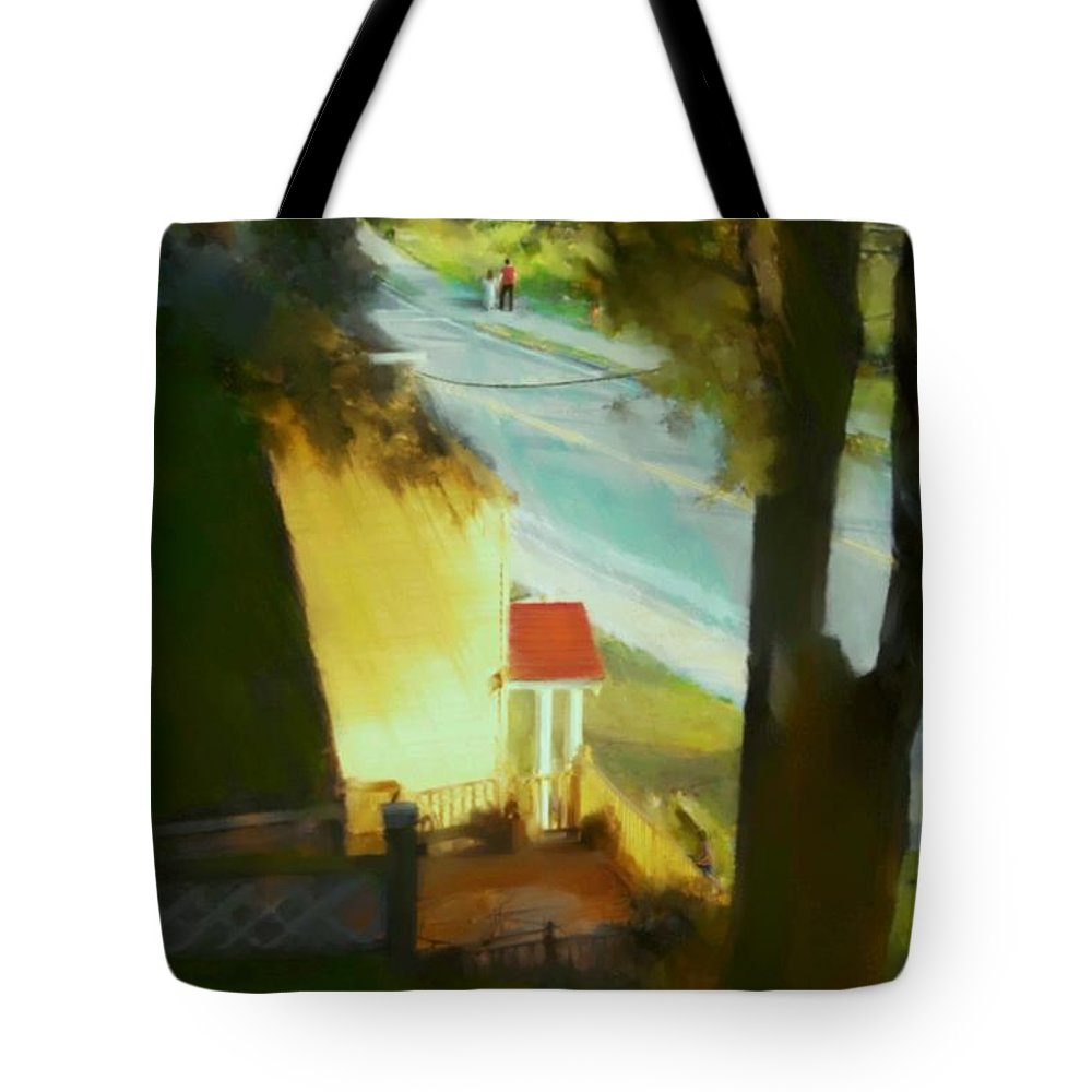 Fineartamerica.com Tote Bag featuring the painting View From My Window On A Summer Afternoon B-6 by Diane Strain