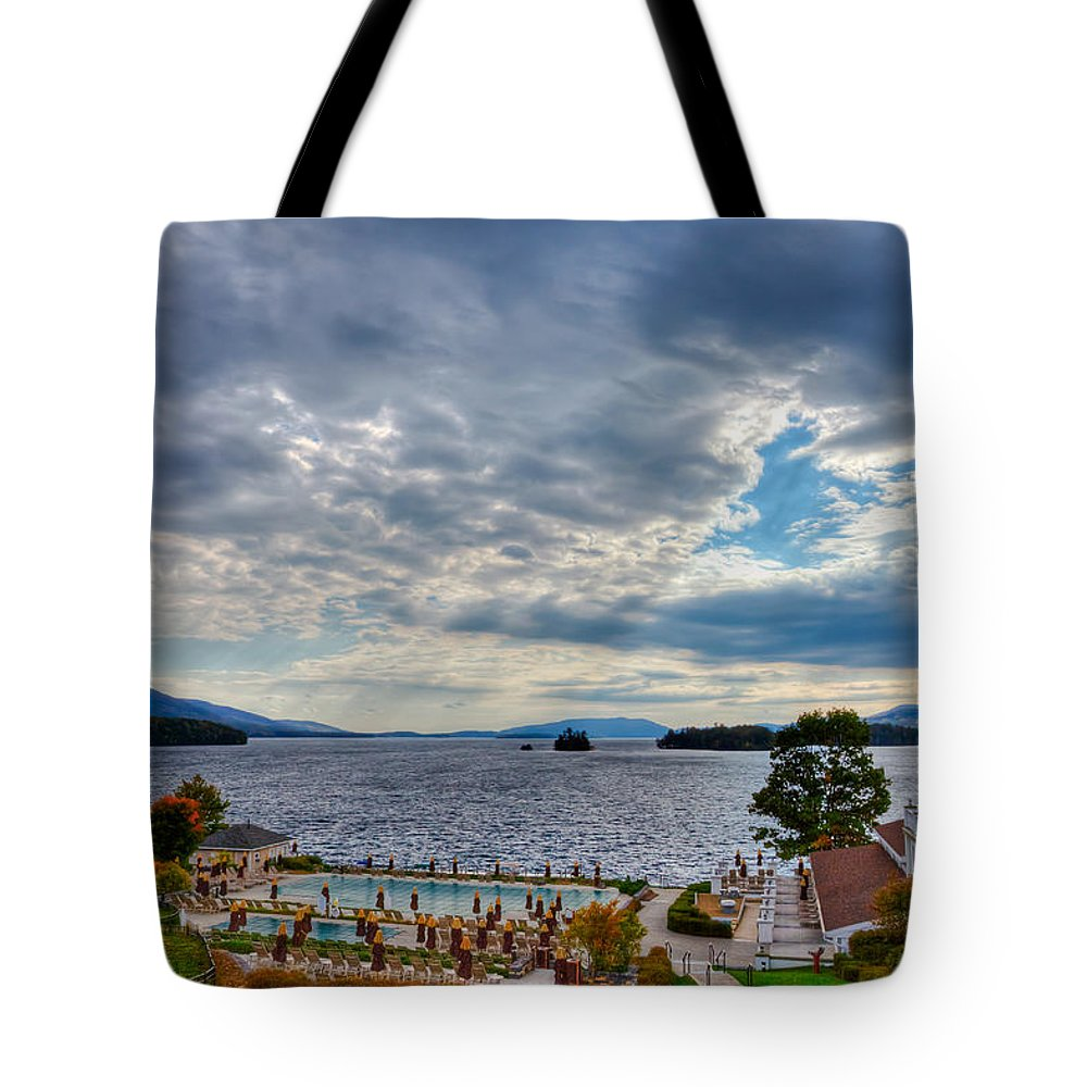 Adirondack's Tote Bag featuring the photograph View From The Balcony Suite - Sagamore Resort by David Patterson