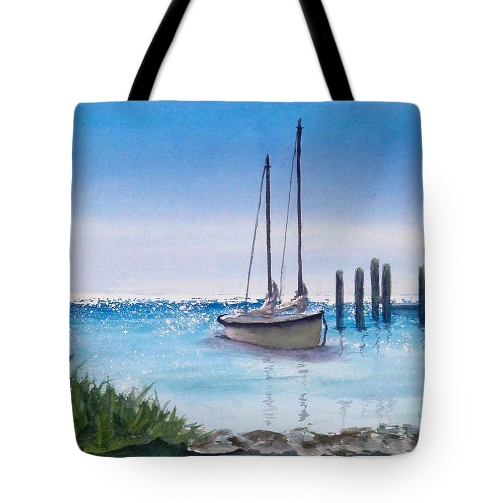 Boats Tote Bag featuring the painting View From The Barnacle by Terry Arroyo Mulrooney