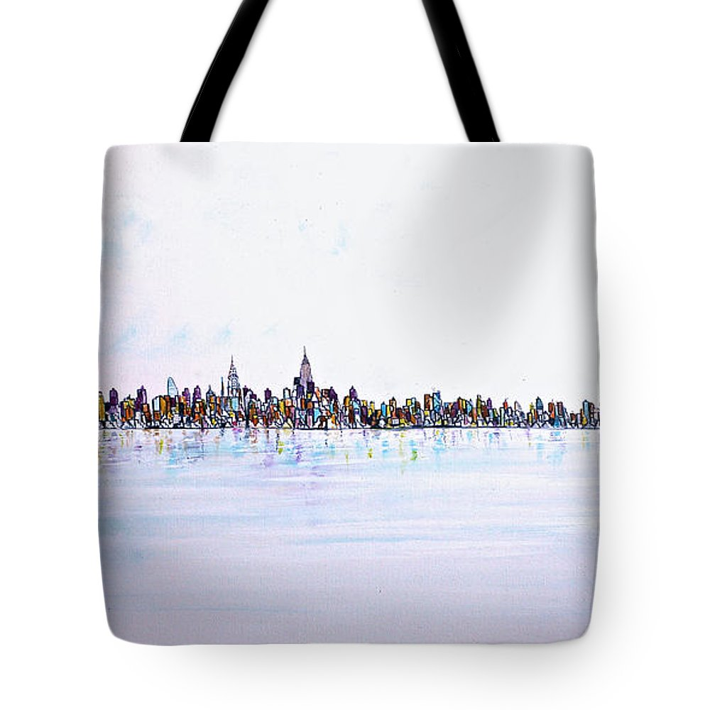 Jack Diamond Art Tote Bag featuring the painting View From The Hudson by Jack Diamond