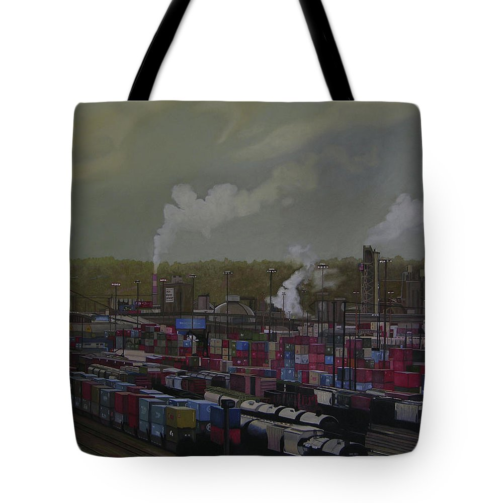 Industrial Landscape Tote Bag featuring the painting View From Viaduct by Thu Nguyen