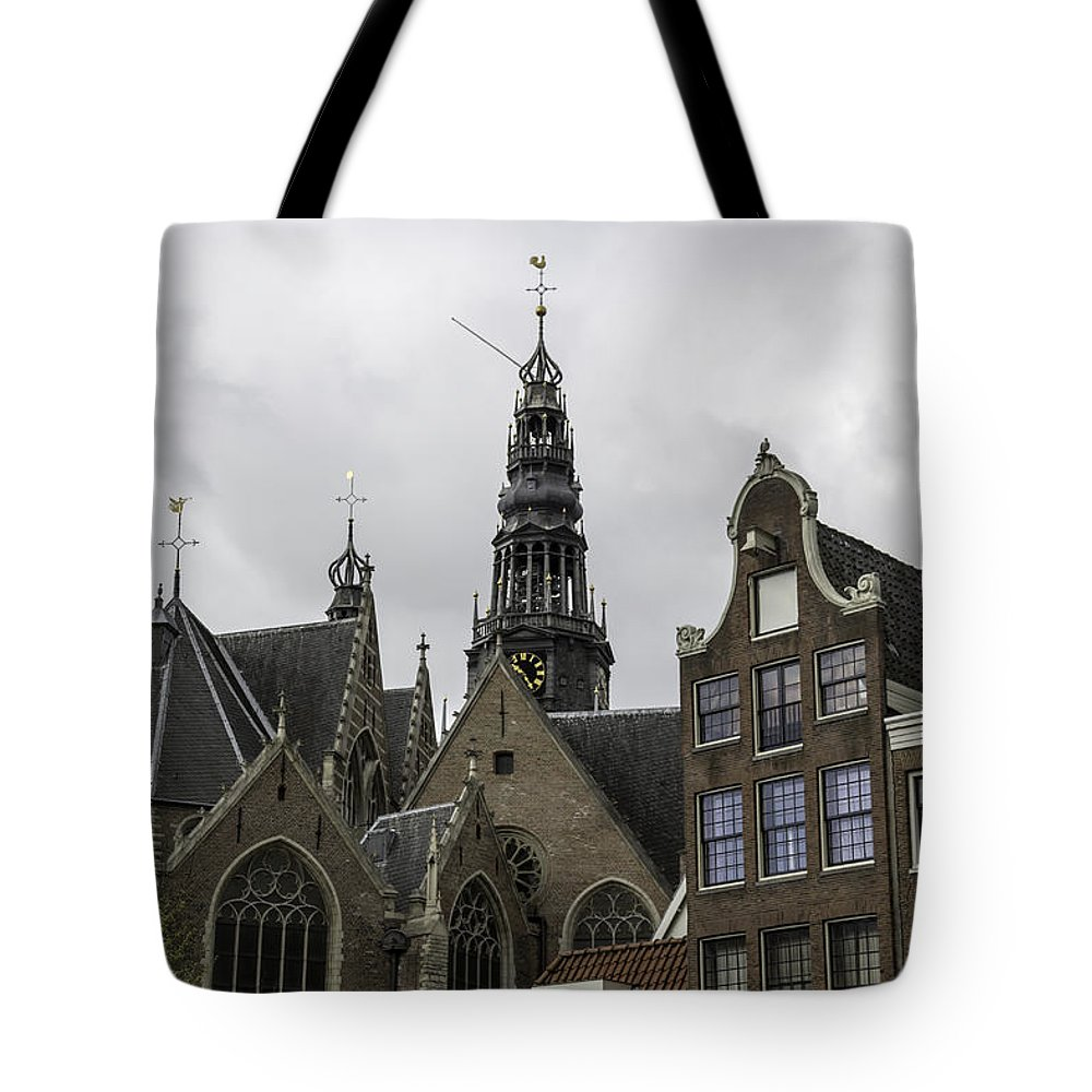 2014 Tote Bag featuring the photograph View Of Bell Tower Oude Kerk Amsterdam by Teresa Mucha