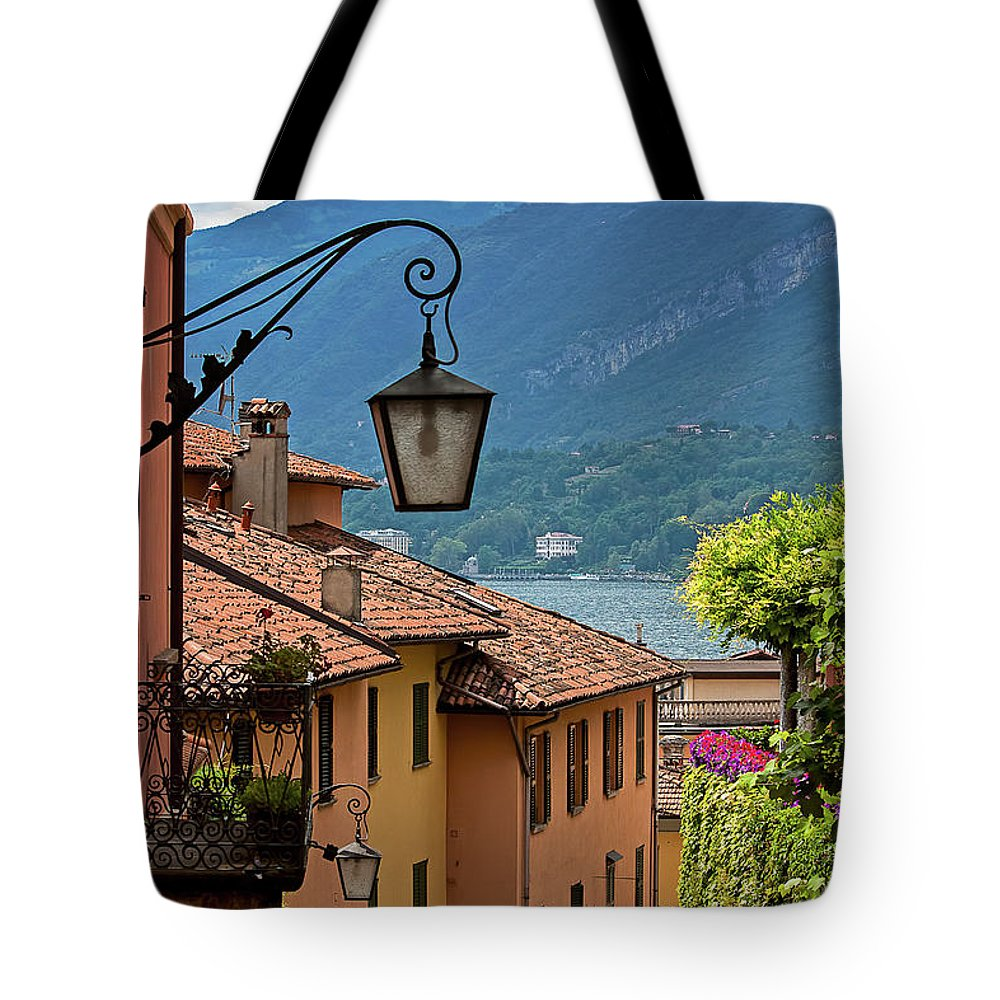 Tranquility Tote Bag featuring the photograph View Of Lake Como From Upper Street by Melinda Moore
